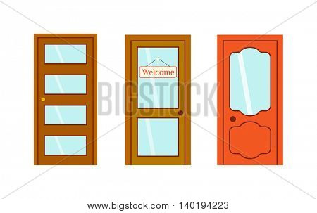 Doors isolated vector illustration.