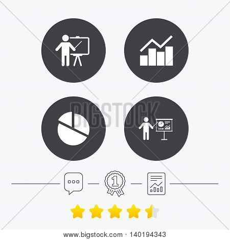 Diagram graph Pie chart icon. Presentation billboard symbol. Man standing with pointer sign. Chat, award medal and report linear icons. Star vote ranking. Vector