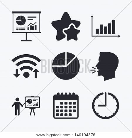 Diagram graph Pie chart icon. Presentation billboard symbol. Supply and demand. Man standing with pointer. Wifi internet, favorite stars, calendar and clock. Talking head. Vector