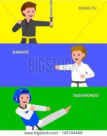 Cute vector character child. Illustration for martial art taekwondo, karate, kung fu. Kid wearing kimono and training