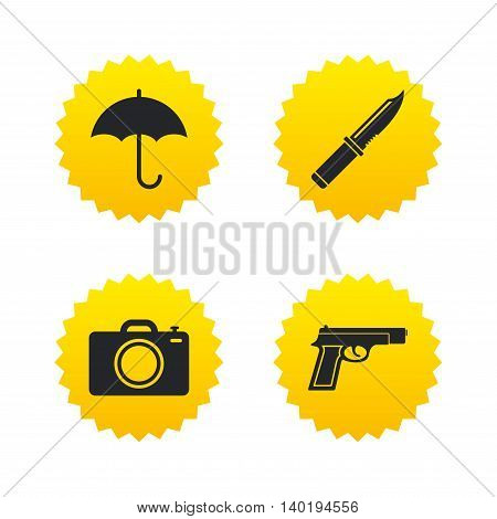 Gun weapon icon.Knife, umbrella and photo camera signs. Edged hunting equipment. Prohibition objects. Yellow stars labels with flat icons. Vector
