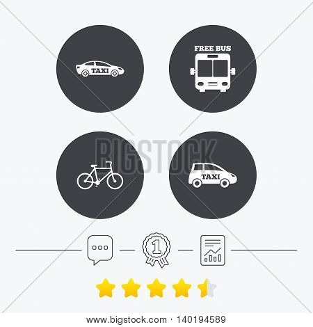 Public transport icons. Free bus, bicycle and taxi signs. Car transport symbol. Chat, award medal and report linear icons. Star vote ranking. Vector