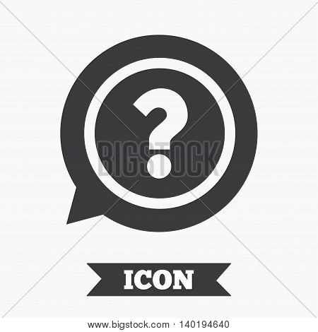 Question mark sign icon. Help speech bubble symbol. FAQ sign. Graphic design element. Flat question mark symbol on white background. Vector