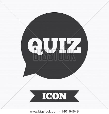 Quiz speech bubble sign icon. Questions and answers game symbol. Graphic design element. Flat quiz symbol on white background. Vector
