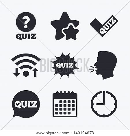 Quiz icons. Speech bubble with check mark symbol. Explosion boom sign. Wifi internet, favorite stars, calendar and clock. Talking head. Vector