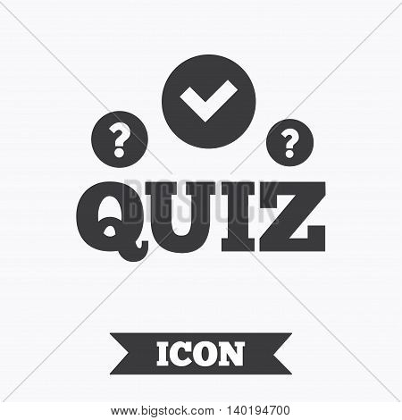 Quiz with check and question marks sign icon. Questions and answers game symbol. Graphic design element. Flat quiz symbol on white background. Vector