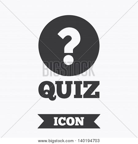 Quiz with question mark sign icon. Questions and answers game symbol. Graphic design element. Flat quiz symbol on white background. Vector