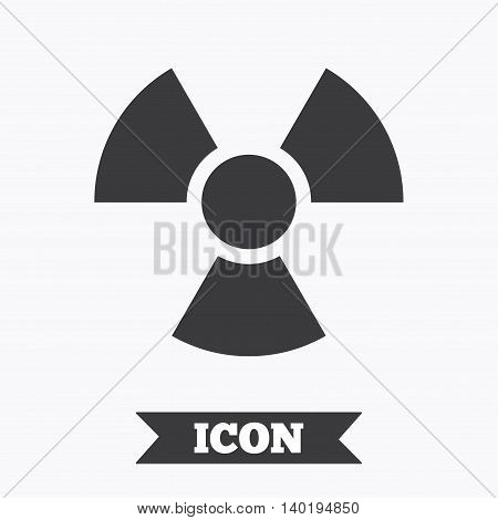 Radiation sign icon. Danger symbol. Graphic design element. Flat radiation symbol on white background. Vector