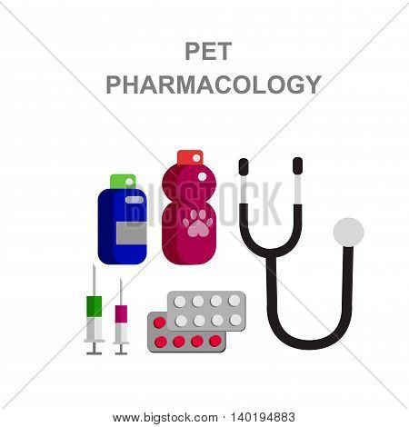 high quality veterinary object and icons set isolated on white background