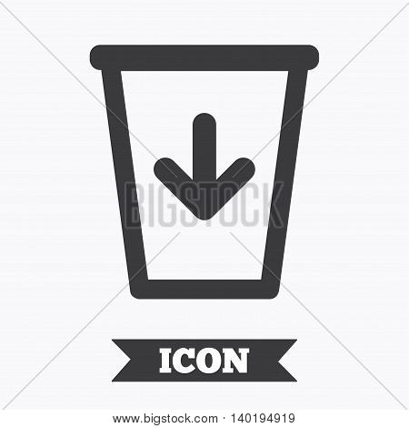 Send to the trash icon. Recycle bin sign. Graphic design element. Flat recycle bin symbol on white background. Vector
