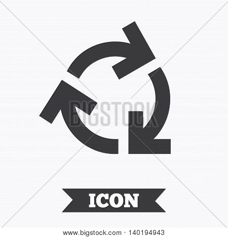 Recycling sign icon. Reuse or reduce symbol.. Graphic design element. Flat reuse or reduce symbol on white background. Vector