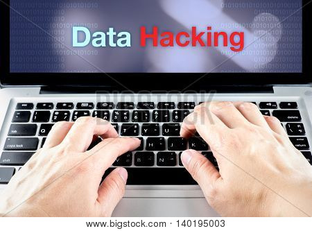Hand Type On Laptop With Data Hacking On Screen With Blur Background, Internet Security Concept