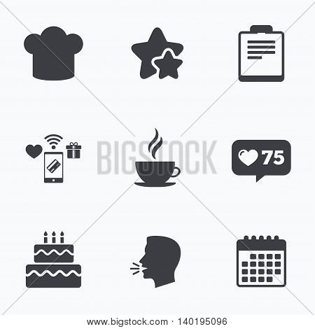 Coffee cup icon. Chef hat symbol. Birthday cake signs. Document file. Flat talking head, calendar icons. Stars, like counter icons. Vector