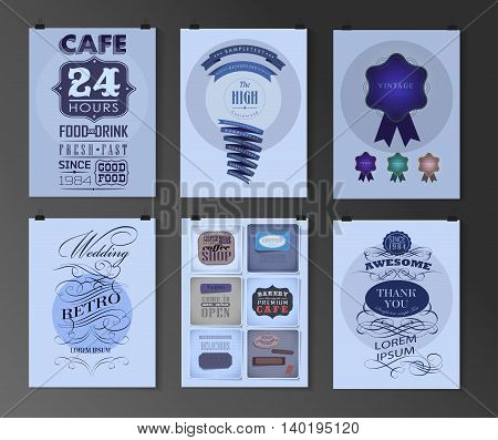 Set of poster, flyer, brochure design templates in different styles. Calligraphic and labels. Retro vintage design.