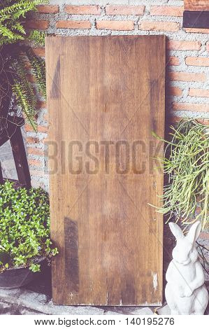 Vintage Filter : Empty Wood Sign Board On Brick Wall In Front Of Coffee Shop,template Mock Up For Ad