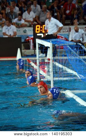 Budapest Hungary - Jul 14 2014. Hungarian team waiting for the start. Viktor Nagy (HUN 1) goalkeeper in the cage. The Waterpolo European Championship was held in Alfred Hajos Swimming Centre in 2014.