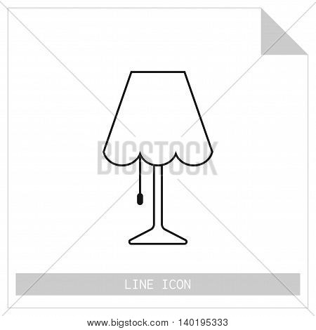 Table lamp. Flat linear icon. Object of interior, light source. Vector illustration