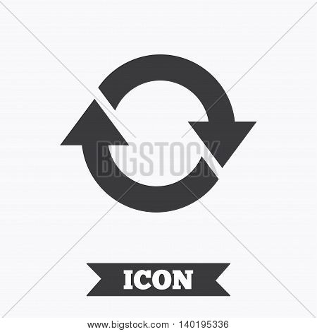 Rotation icon. Repeat symbol. Refresh sign. Graphic design element. Flat refresh symbol on white background. Vector