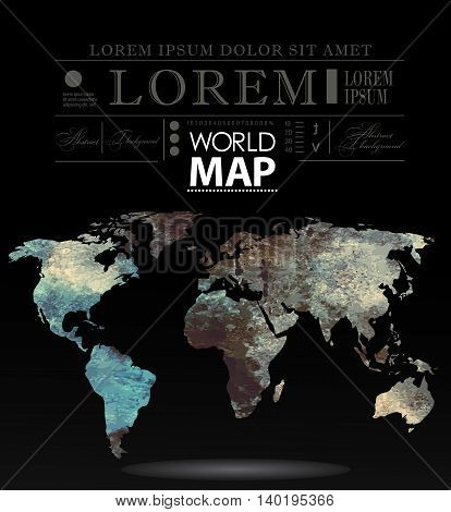 Modern elements of info graphics. Polygonal, mosaic World Map