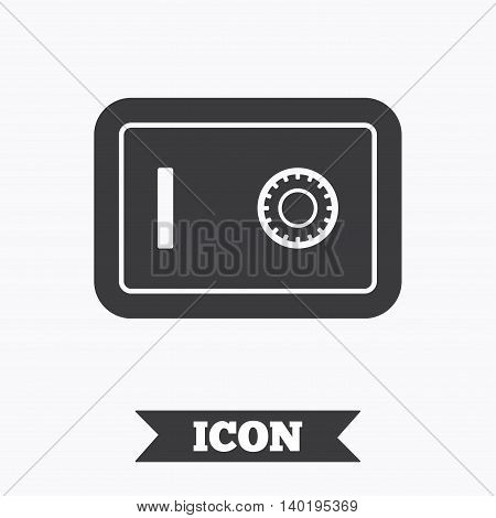 Safe sign icon. Deposit lock symbol. Protection for your documents in hotel. Graphic design element. Flat safe box symbol on white background. Vector