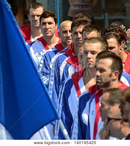 Budapest Hungary - Jul 14 2014. Serbian team at the start. The Waterpolo European Championship was held in Alfred Hajos Swimming Centre in 2014.