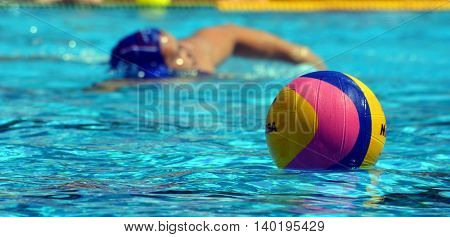 Budapest Hungary - Jul 14 2014. Waterpolo ball and player. The Waterpolo European Championship was held in Alfred Hajos Swimming Centre in 2014.