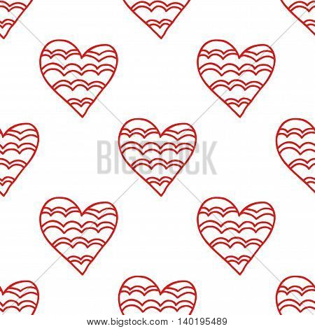 Seamless pattern of decorative red hearts, romantic background. Vector illustration