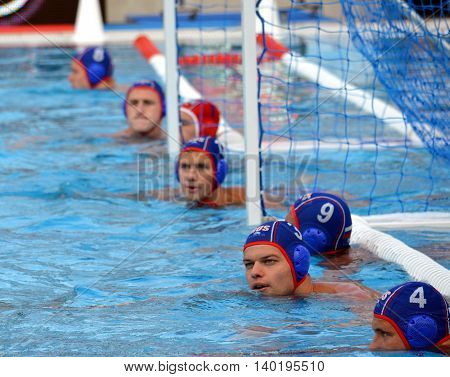 Budapest Hungary - Jul 14 2014. The russian team at the goal line waiting for the start. The Waterpolo European Championship was held in Alfred Hajos Swimming Centre in 2014.