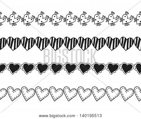 Black and white decorative ornament, seamless pattern, border of hearts. Romantic decor