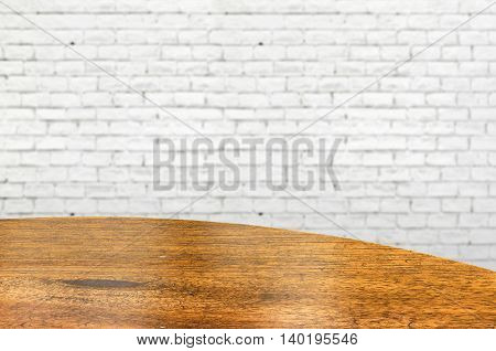 Empty Wood Round Table And White Brick Wall In Background. Product Display Template.