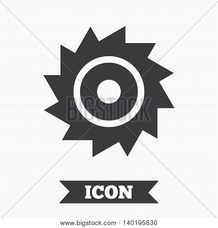 Saw circular wheel sign icon. Cutting blade symbol. Graphic design element. Flat circular saw symbol on white background. Vector