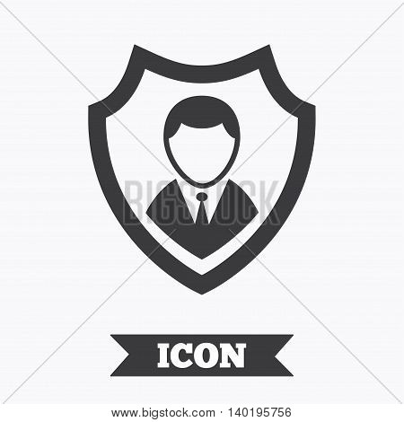 Security agency sign icon. Shield protection symbol. Graphic design element. Flat security symbol on white background. Vector
