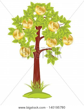 The Money tree on white background is isolated.Vector illustration