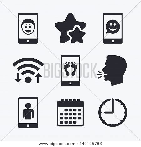 Selfie smile face icon. Smartphone video call symbol. Self feet or legs photo. Wifi internet, favorite stars, calendar and clock. Talking head. Vector