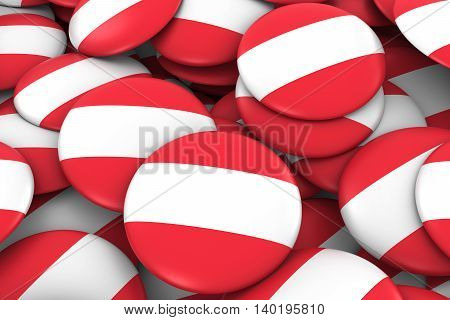 Austria Badges Background - Pile Of Austrian Flag Buttons 3D Illustration