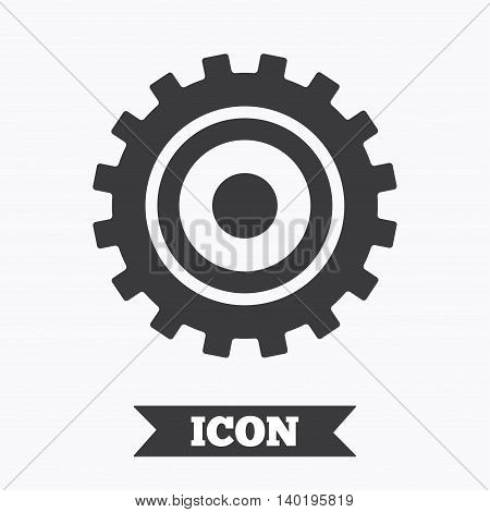 Cog settings sign icon. Cogwheel gear mechanism symbol. Graphic design element. Flat cogwheel gear symbol on white background. Vector