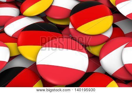 Austria And Germany Badges Background - Pile Of Austrian And German Flag Buttons 3D Illustration