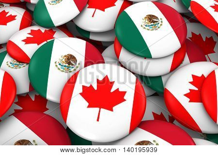 Canada And Mexico Badges Background - Pile Of Canadian And Mexican Flag Buttons 3D Illustration