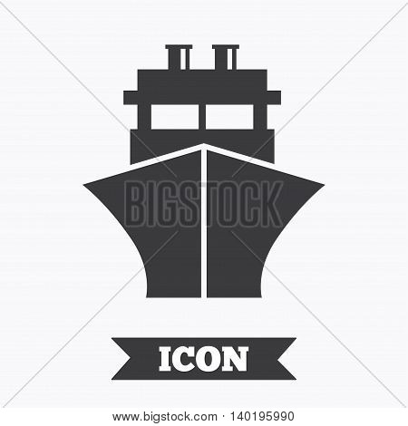 Ship or boat sign icon. Shipping delivery symbol. Graphic design element. Flat ship symbol on white background. Vector
