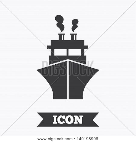 Ship or boat sign icon. Shipping delivery symbol. Graphic design element. Flat shipping symbol on white background. Vector