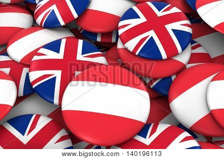 Austria And Uk Badges Background - Pile Of Austrian And British Flag Buttons 3D Illustration