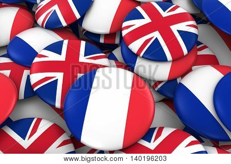 France And Uk Badges Background - Pile Of French And British Flag Buttons 3D Illustration