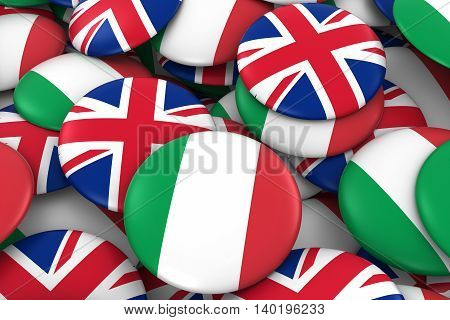 Italy And Uk Badges Background - Pile Of Italian And British Flag Buttons 3D Illustration