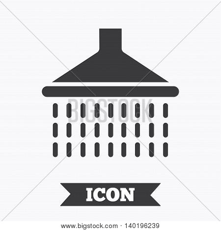 Shower sign icon. Douche with water drops symbol. Graphic design element. Flat shower symbol on white background. Vector