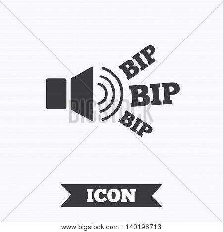 Speaker volume icon. Sound with BIP symbol. Loud signal. Graphic design element. Flat signal BIP symbol on white background. Vector