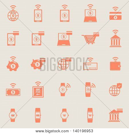 Fintech color icons on grey background, stock vector