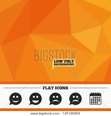 Triangular low poly orange background. Speech bubble smile face icons. Happy, sad, cry signs. Happy smiley chat symbol. Sadness depression and crying signs. Calendar flat icon. Vector