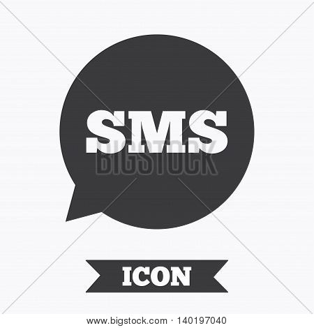 SMS speech bubble icon. Information message symbol. Graphic design element. Flat sms message symbol on white background. Vector