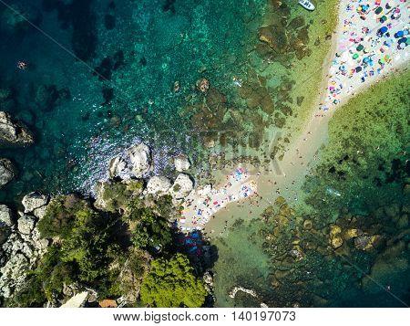 Top View of Isola Bella at Taormina, Sicily