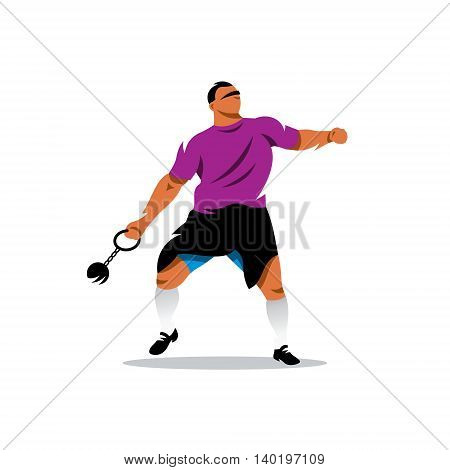 Athlete throws the core at a distance. Isolated on a White Background